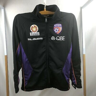 Perth Glory FC Soccer Training Track Zip Up Jacket Black Top Size Medium VGC