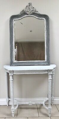 LOVELY 19th CENTURY FRENCH WALNUT CONSOLE TABLE LIGHT GREY DISTRESSED