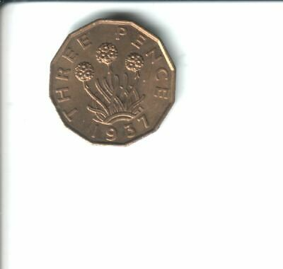 1937  George Vl  Brass Threepence Coin Uncirculated & lustrous.