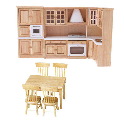 1/12 Dollhouse Miniature Furniture Wooden Kitchen Cabinet Table Chair Model