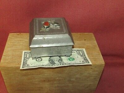 Antique Chinese Paktong Pewter Box w/ Jade or Hardstone Lid signed