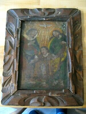 Original Antique Retablo/ On Tin With The Image Of The Holy Family Framed