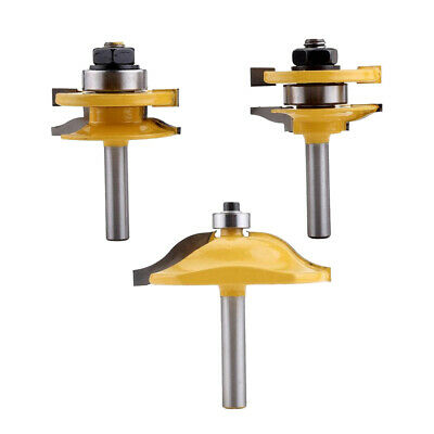 """3pc 1/4"""" Ogee Raised Panel and Ogee Rail & Stile Router Bit Set 8mm Shank"""
