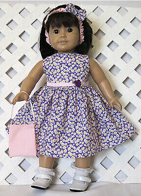 """HANDMADE Doll Clothes Fits 18"""" American Girl Doll PINK WHITE FLORAL PURPLE DRESS"""