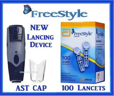 NEW ABBOTT FREESTYLE Lancing Device & AST Clear Cap + Box 100ct 28g Lancets