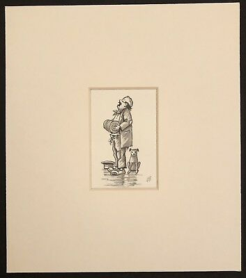 "The Busker And His Dog original mounted Ink drawing 7""x8"" G.Burgess Cornwall"