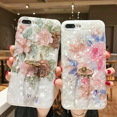 Shells Flower Marble Stand Holder Soft Case Cover For iPhone 6s 7 8 X XS XR MAX