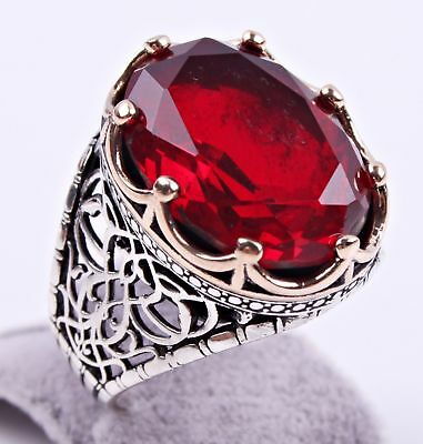 AAA QUALITÉ Bague Chevalière Argent massif 925 Sterling Serti Rubis Rouge Ovale