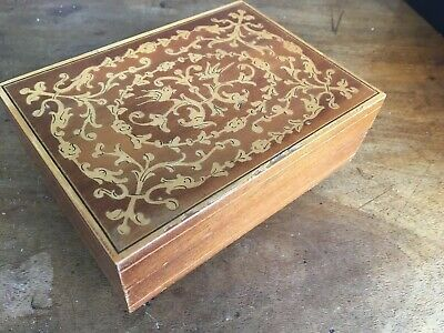 Original Antique Vintage Wooden Music Jewellery Box