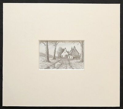 "Old Country Farm House original mounted pencil drawing 7""x8"" G.Burgess Cornwall"