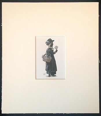 "Violets Sweet Violets original mounted ink drawing 7""x8"" G.Burgess Cornwall"