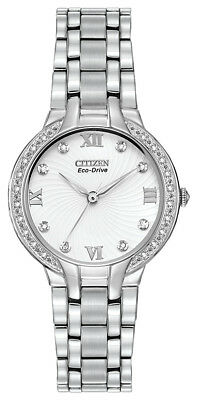 Citizen Eco-Drive Bella Women's EM0120-58A Diamond Accent Silver Tone 29mm Watch