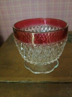 Antique Clear Glass & Cranberry Candy Dish Compote