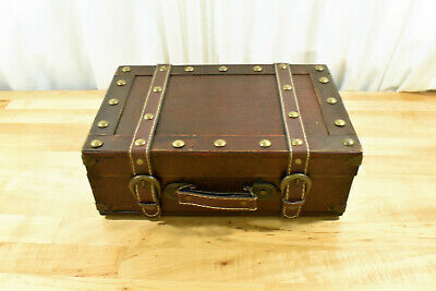 Antique Style Small Suitcase Vintage Wooden Carrying Suitcase Leather Decorated