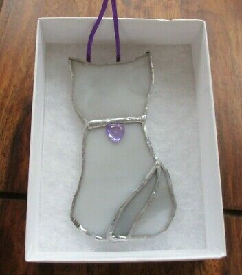 Stained Glass Grey Cat Suncatcher