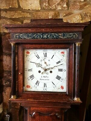 A Georgian Cottage Oak and Mahogany longcase tallcase Grandfather Clock C1770-80
