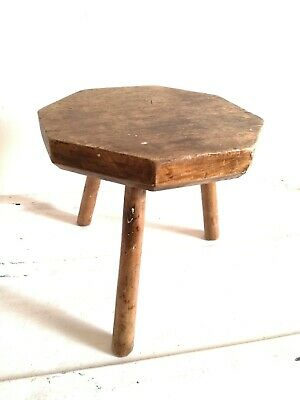 Antique Hewn Oak Milking Stool Naive Arts And Crafts Table Rustic Chic Interiors