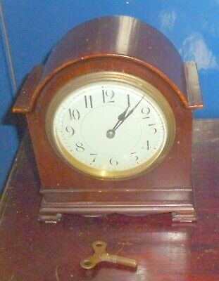 Lovely Antique  Mahogany Mantle Clock Working Made In France With Key