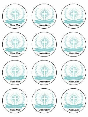 1st Holy Communion Blue edible printed cupcake Toppers Wafer or Icing x 12