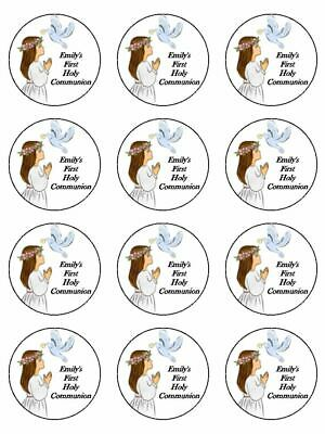 1st Holy Communion Girl edible printed cupcake Toppers Wafer or Icing x 12