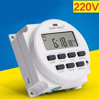 SINOTIMER 220V Digital LCD Relay Switch Weekly Programmable Electronic Timer