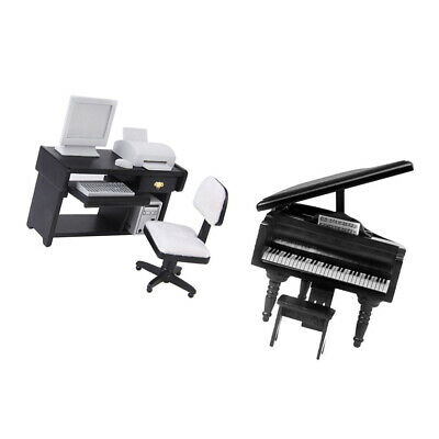 1/12Scale Doll House Miniature Funiture Piano with Stool & Computer Desk Set