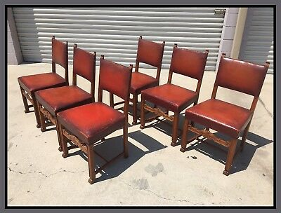 Spanish Renaissance Dining Side Chairs Baroque, Hooved, Carved Oak , Set of Six!