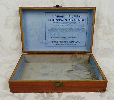 Antique Tyrian Triumph Rubber Water Bottle Fountain Syringe Wood Box Only