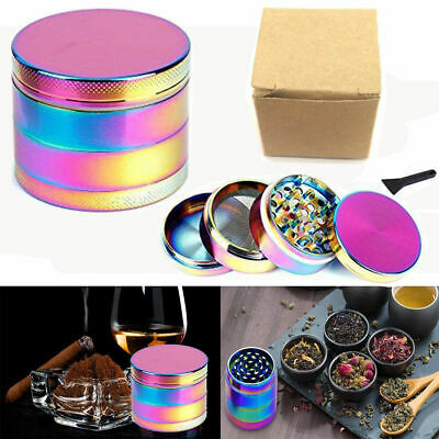 Large Stainless Spice Tobacco Herb  Grinder-4 Layers 40 x 50mm Rainbow