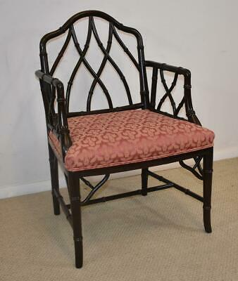 Century Furniture Chinese Chippendale Faux Black Laquered Bamboo Side Chair
