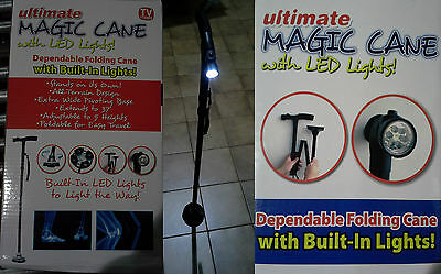 Magic Cane Bastone Antiscivolo Pieghevole Con Torcia Led Incorporata