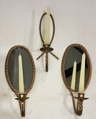 Vtg retro twisted gold iron rope metal candle wall oval mirror sconces holders