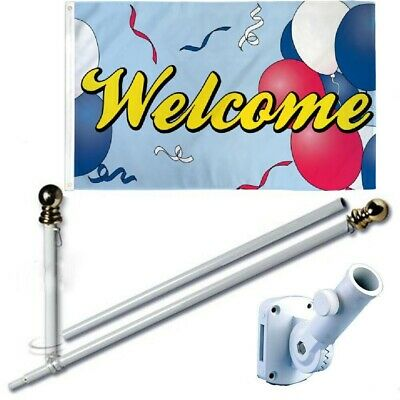 """3 styles avail /""""WELCOME/"""" flag 3x5 ft balloons RWB"""