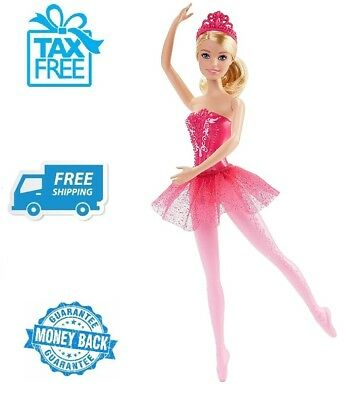 New Barbie Ballerina Blonde Hair Doll Blue Eyes Pink Dress Tip Toed Girls Toy