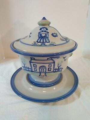 M A Hadley Large Soup Tureen With Underplate Farmer Horse Cow
