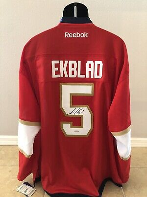 super popular 25f2a 250b4 AARON EKBLAD SIGNED Florida Panthers Red Adidas PRO Jersey ...