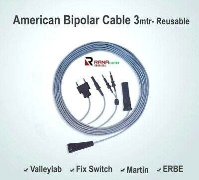 American Bipolar Cable Reusable, 3M Length- ERBE, MARTIN, Fix-Switch & Valleylab