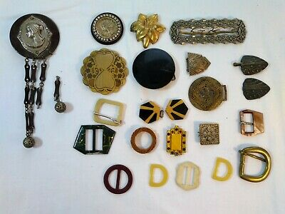Antique Art Deco Accessories Lot Belt Buckles Dress Clip Metal Brass Filigree