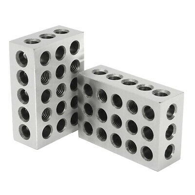 "1 Pair Hardened 1-2-3 Block Set 0.0002"" Precision 23 Holes - Carbon Steel"
