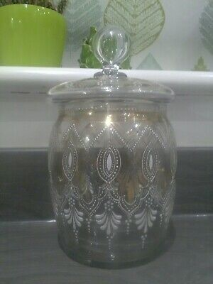 glass jar with lid c1900    etched and enamel decoration