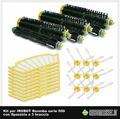 KIT MEDIUM 6 SPAZZOLE 3 BRACCIA PER IROBOT ROOMBA SERIE 500 600 700