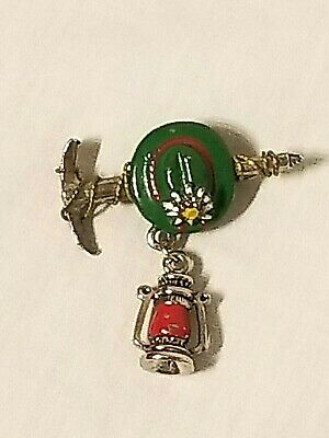 VTG Enamel German Swiss Alps Souvenir Brooch Hat Pin Climbing Lantern Axe - S1