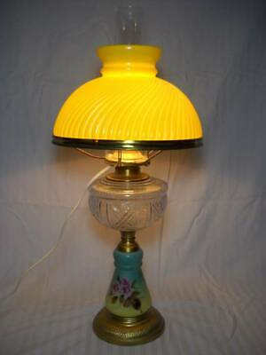 """Antique Converted 23"""" Oil Lamp Hand Painted Base w/ Yellow Ribbed Swirl Shade"""