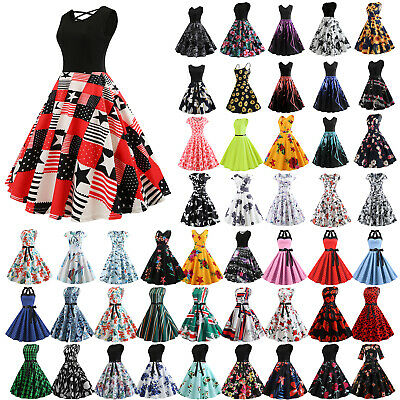 1950S 60S ROCKABILLY DRESS Vintage Style Swing Pinup Retro Housewife Prom Party