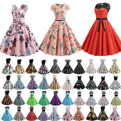 UK Womens 50s 60s Style Vintage Rockabilly Grown Prom Swing Evening Party Dress