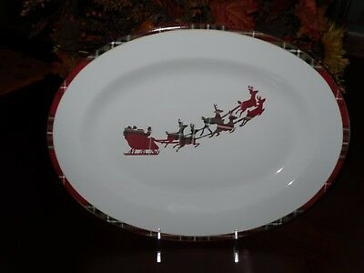 """222 Fifth Wexford Red 14"""" Christmas Platter Santa Sled Reindeer Red Green Plaid"""
