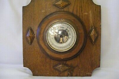 Antique barometer oak wood case wall mounted good working condition