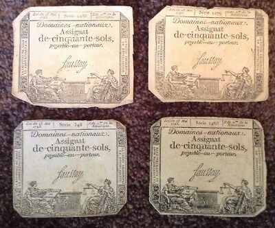 Lot Of 4 X French Revolution Banknotes. 50 Sols. Dated 1793. Assignat. France.
