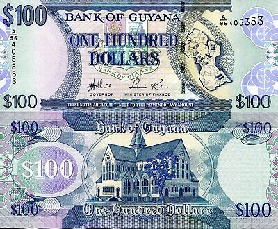 GUYANA 100 Dollars Banknote World Paper Money UNC Currency Pick p36a 2006 Bill