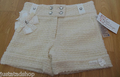 Little Darlings girl smart party special occasion shorts 7-8 y  BNWT wool cream